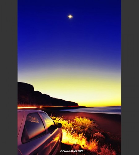 Etoile et coucher de soleil en baie de Saint-Paul
