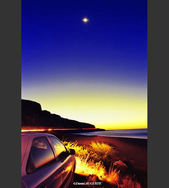 Etoile et coucher de soleil en baie de Saint-Paul Réunion