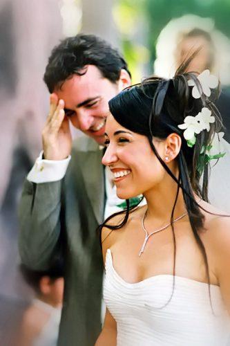 Mariage, sourires de couple